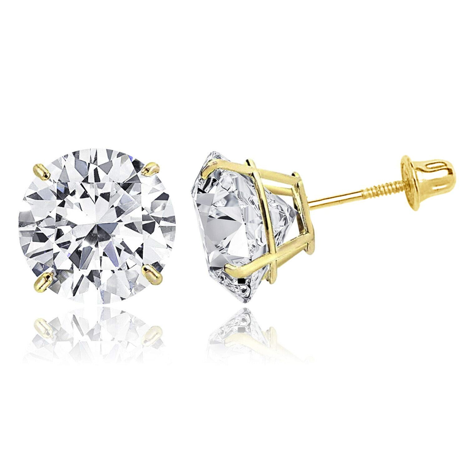 TIONEER 14K Solid Gold or Sterling Silver Stud Earrings for Women and Men, Cubic Zirconia Round Cut & Princess Cut, (White, Yellow, Rose, Black, Silver), 3mm - 9mm