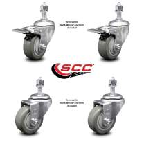 "Polyurethane Swivel Threaded Stem Caster Set of 4 w/3"" x 1.25"" Gray Wheels and 1/2"" Stems - Includes 2 with Total Locking Brake - 1000 lbs Total Capacity - Service Caster Brand"