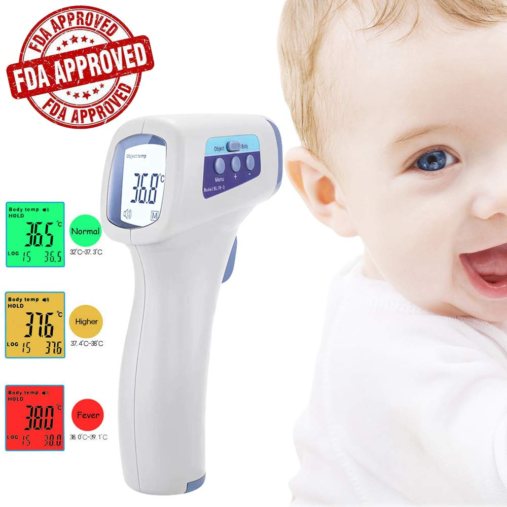 Lateefah Infrared Digital Forehead Thermometer Adults Non-Contact Forehead Thermometer with LCD Display, No Touch Accurate Instant Readings Kids Baby