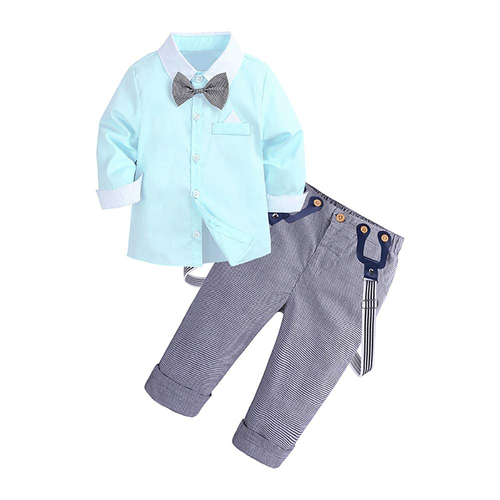 SeClovers Gentleman Bowtie Formal Outfits-Toddler Boys Dresses Shirt Suspender Pants Clothing BY89