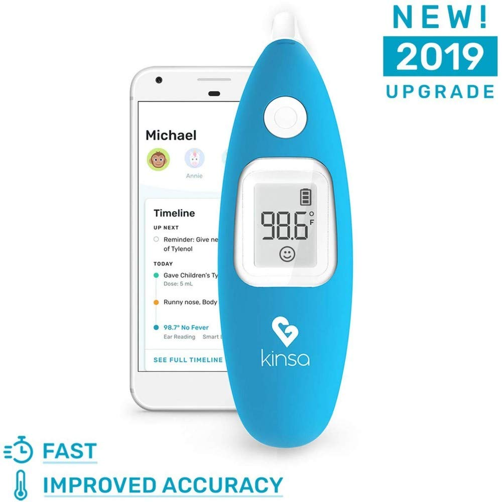 [2019 Upgrade] Kinsa Smart Ear Digital Thermometer for Fever - Accurate, Fast, Medical Infrared Termometro for Baby, Kid, Adult - FDA Cleared for Body Temperature Readings - Upgraded for Best Accuracy