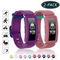 MATOP Silicone Band Compatible for Fitbit Ace 2 for Kids 6+,Soft Replacement Band Accessories Sport Strap for Boys Girls Wristband for Fitbit Ace 2 Activity Tracker (Purple+Red)