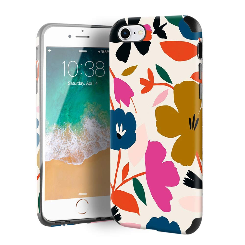 CUSTYPE Case for iPhone SE, iPhone 7 Case Floral for Girls & Women, Floral Series Painted Flower Print Pattern Design PC Leather with TPU Bumper Slim Protective Cover for iPhone se/8/7 4.7''