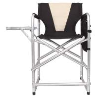 Tall Director's Chair Folding Portable Camping Chair, Lightweight Full Aluminum Frame Makeup Artist Collapsible Chair with Side Table Storage Bag Footrest, Supports 300LBS