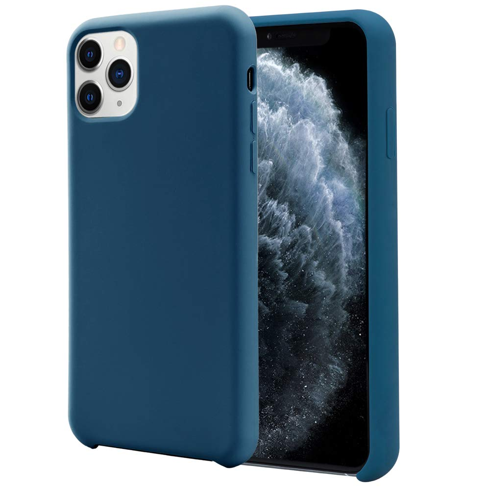 Orzero Liquid Silicone Gel Rubber Case Compatible for iPhone 11 Pro 2019, Full Body Shock Absorbing Ultra Slim Protective (Baby Skin Touch) -Navy