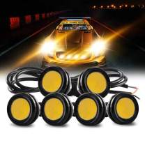 Teguangmei Universal 6 Pack 23mm High Power Amber 9W Eagle Eye LED Lights DRL Daytime Running Fog Light Tail Backup Light Clearance Marker Lights Car Motorcycle Accessories