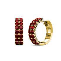 TriJewels Red Garnet Double Row Hoop Earrings 1.35 ctw in 14K Yellow Gold