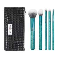Royal & Langnickel MODA Full Size Crackle 6pc Makeup Brush Set with Pouch Includes - Multi-Purpose Powder, Contour, Eye Shader, Smoky Eye, and Angle Liner, Emerald
