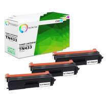 TCT Premium Compatible Toner Cartridge Replacement for Brother TN-433 TN433C TN433M TN433Y High Yield Works with Brother HL-L8260CDW L8360CDW, MFC-L8610CDW Printers (Cyan, Magenta, Yellow) - 3 Pack