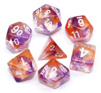 Polyhedral Dice Sets DND Game Dice for Dungeons Dragons(D&D) Role Playing Game(RPG) MTG Pathfinder Table Game Board Games Dice Flowing Series Double Color Transparent Dice (Purple-Orange)