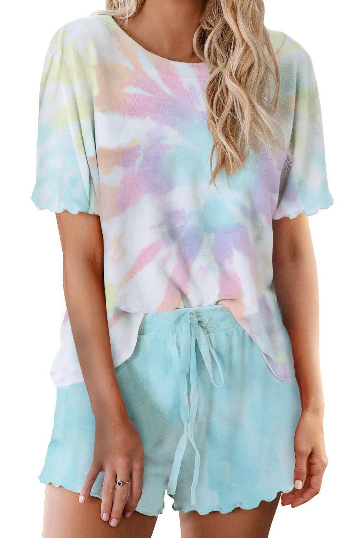 SENSERISE Womens Tie Dye Pajamas Sets Short Sleeve Shorts PJ Set 2 Piece Loungewear Nightwear Sleepwear