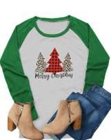 Dauocie Womens Merry Christmas Shirt Long Sleeve Casual Raglan Letter Printed Christmas Tree Graphic Tee Tops