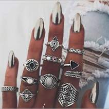 Nicute Boho Vintage Rings Knuckle Rings Set Silver Finger Ring Sets for Women and Girls(10 Pieces)