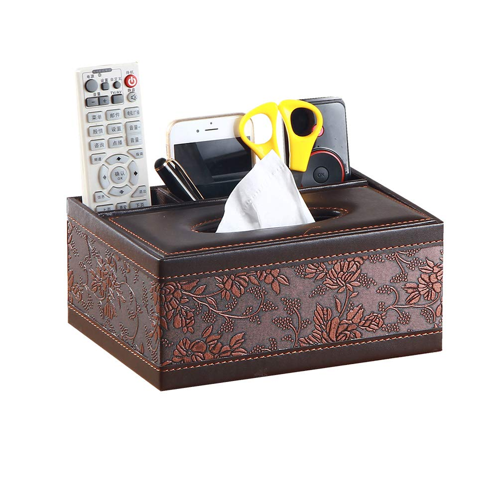 Tissue Box Cover Leather Retro Rectangular Multifunctional Remote Control Stationery Napkin Holder, Modern Facial Tissue Pumping Paper Dispenser Desk Organizer Storage Box Home Office Supplies Caddy