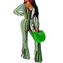 Uni Clau Women's Sexy Long Sleeve Jumpsuits - Striped Bodycon One Piece Jumpsuit Wide Leg Flare Pants Romper