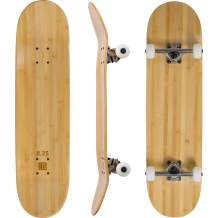 Bamboo Skateboards Complete Skateboard - More Pop, Lighter, Stronger, Lasts Longer Than Most Decks - Includes Deck, Trucks, Wheels, Hardware, ABEC 7 Bearings, Grip Tape, and Bonus Y Tool