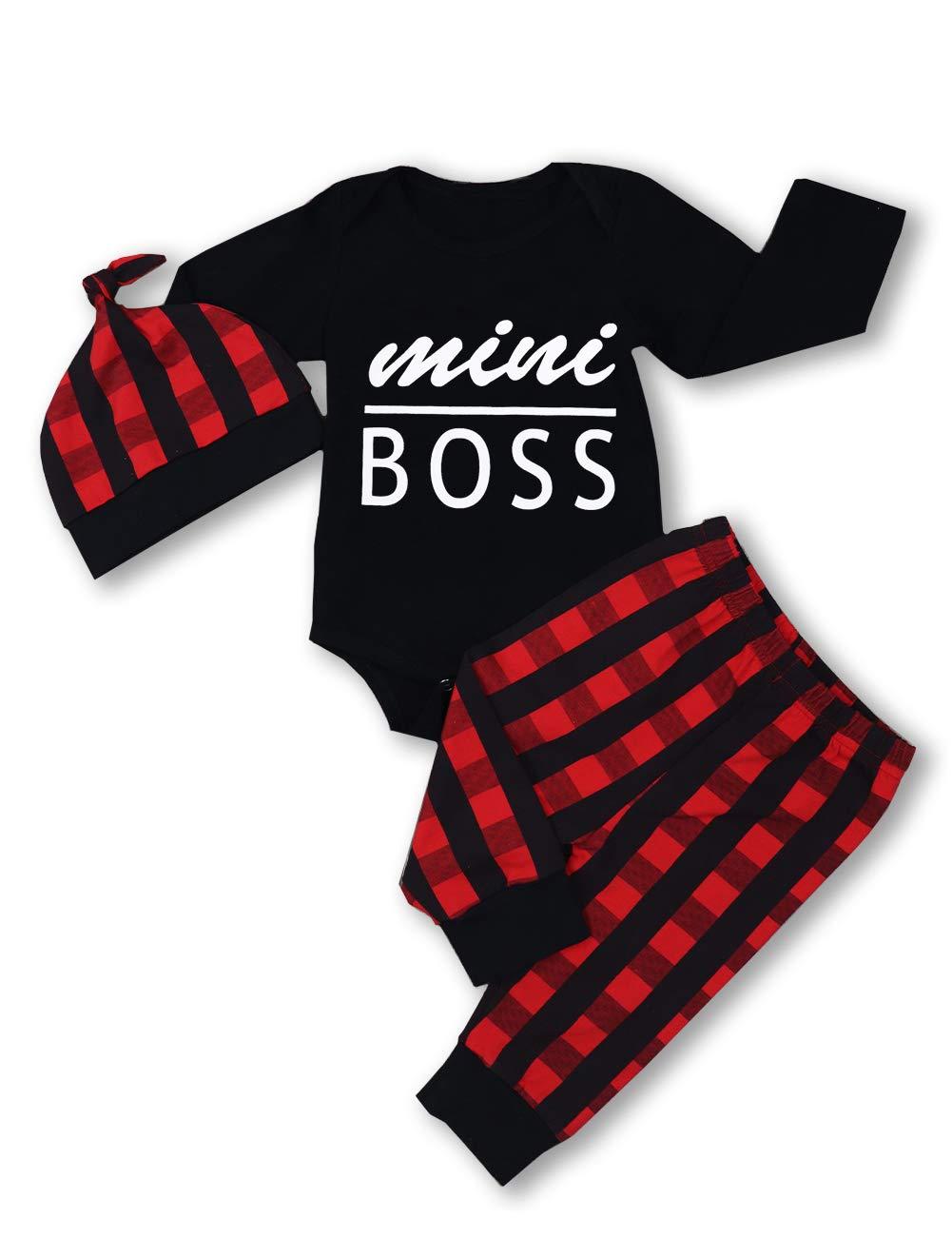 Newborn Baby Boy Girl Clothes Little Man Long Sleeve Romper,Plaid Pants + Cute Hat 3pcs Outfit Set