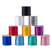 PH PandaHall 10 Colors 2mm Rattail Satin Nylon Trim Cord for Necklace Bracelet Beading Chinese Knot, 10 x 25yards