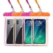 """F-color Waterproof Phone Pouch, 4 Pack Floating Clear TPU Waterproof Phone Case, Transparent Dry Bag Compatible with iPhone Xs,XR,X,8,8P,7P, Galaxy up to 6.5"""", for Swimming Boating Skiing Rafting"""