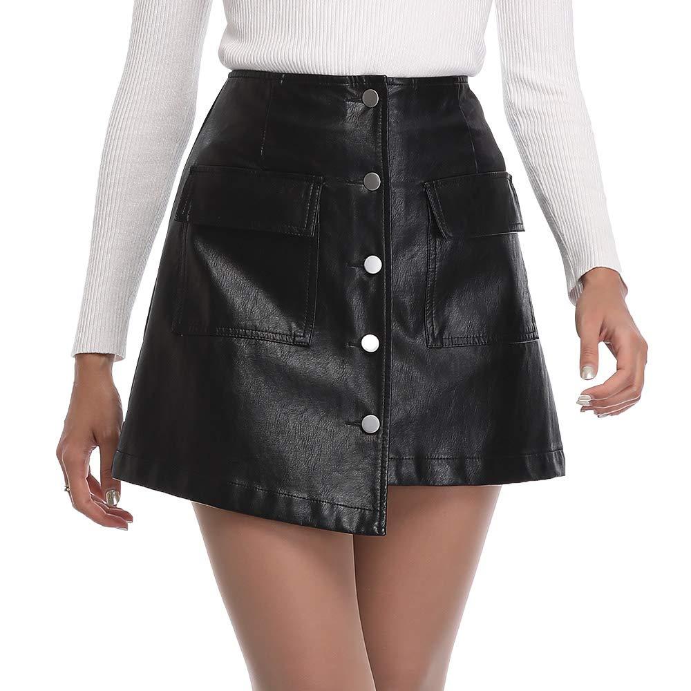 Uusollecy Womens Asymmetrical Hem High Waisted A-Line Skirts