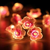 HuTools Flower Lights for Bedroom Valentines Day Decorations Lights Pink Cherry Blossom String Lights 10ft 30 LEDs Battery Powered for Nursery Baby Room Decor