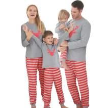 SANMIO Matching Family Pajamas Sets Christmas PJ's with Deer Long Sleeve Tee and Plaid Pants for Kids & Adult Xmas Sleepwear