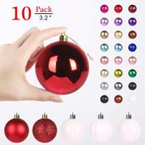 GameXcel Christmas Balls Ornaments for Xmas Tree - Shatterproof Christmas Tree Decorations Large Hanging Ball Red & White3.2 x 10 Pack