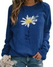 zeyubird Spring Womens Lightweight Daisy Dragonfly Letter Print Top Crewneck Long Sleeve Pullover Sweatshirt for Women