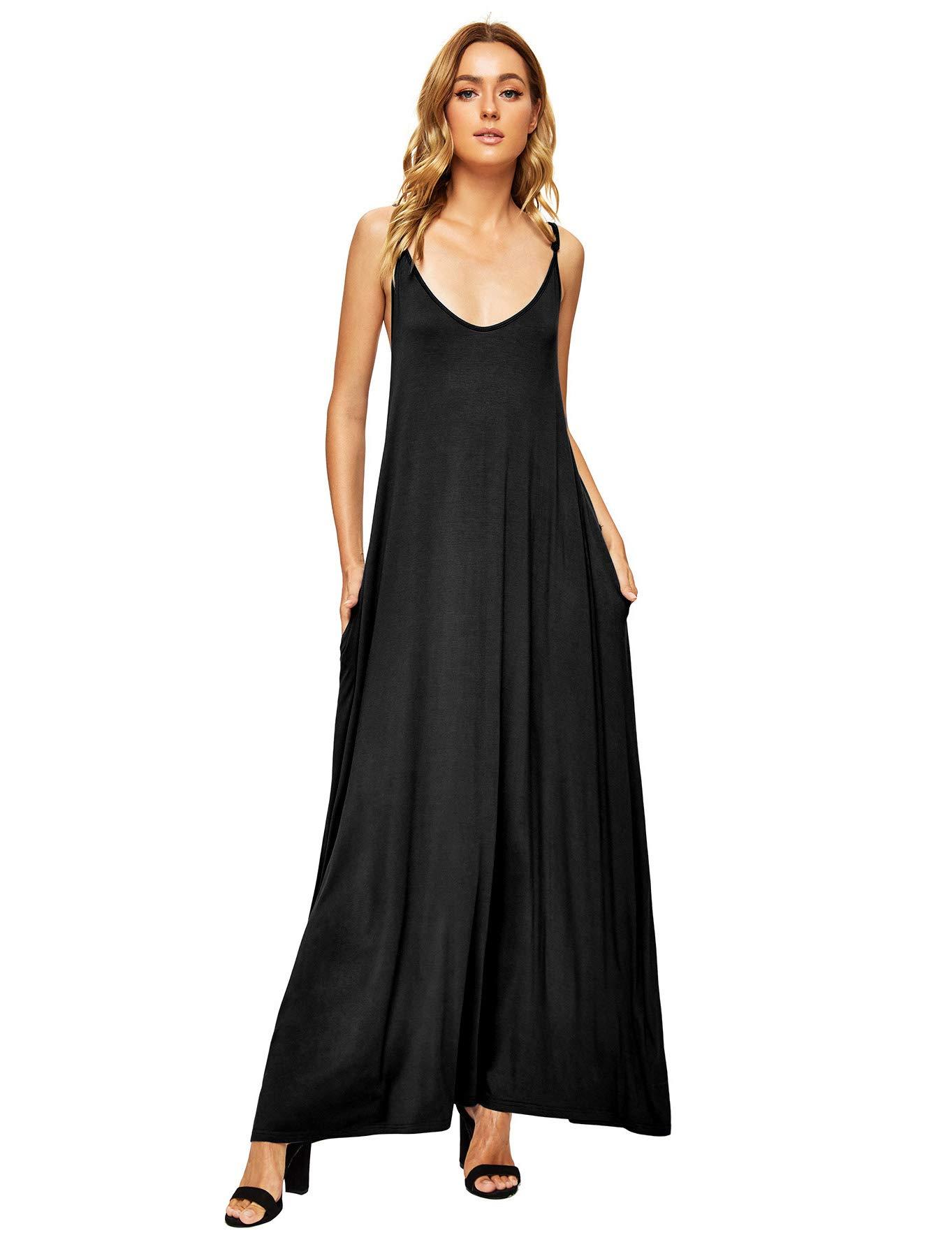 Verdusa Women's Casual Spaghetti Strap Flowy Long Beach Maxi Dress Plain Black L