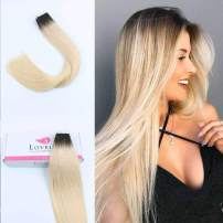 """Lovrio 14"""" 20pcs 50g Tape in Human Hair Extensions Dark Roots Blonde Seamless Darkest Brown Fading to Ash Blonde Base Color R2-60 Pre Taped Double Sided Skin Weft"""