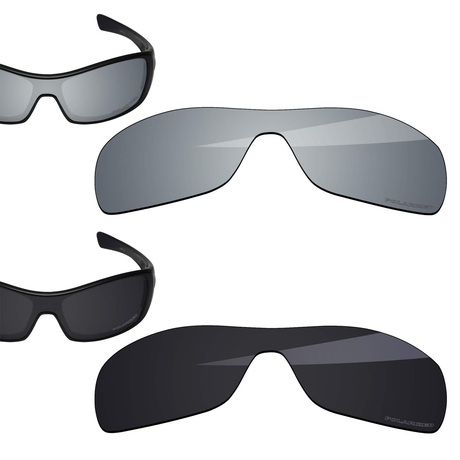 BlazerBuck Anti-salt Polarized Replacement Lenses for Oakley Antix - Black & Silver Chrome