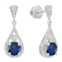 Dazzlingrock Collection 18K 5.5 MM Each Round Gemstone & White Diamond Ladies Drop Earrings, White Gold