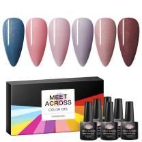 Gel Nail Polish Sets Blue Pink Series 6 Colors Nail Art Gift Box UV LED Soak Off Nail Gel Kit 0.27 OZ 8ml