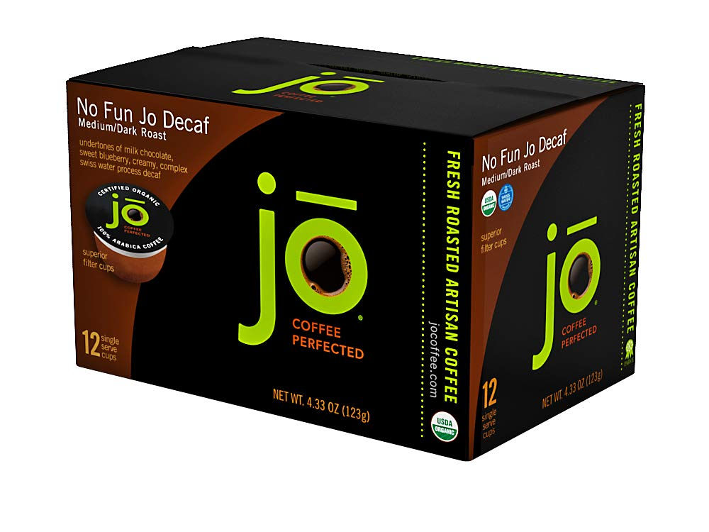 NO FUN JO DECAF: 36 Cup Organic Swiss Water Process Decaffeinated Single Serve Coffee, Eco-Friendly Cup for Kuerig 1.0 & 2.0 K-Cup Brewers, Medium/Dark Roast, Non-GMO, Chemical Free, Gluten Free Decaf