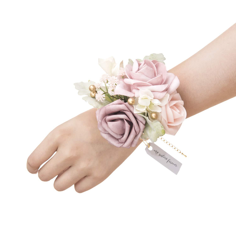 Ling's moment Dusty Rose Wrist Corsage Bracelet, Set of 6 Vintage Wedding Corsage for Bridesmaid Bridal Shower Wedding Flower Corsage Ribbon Prom