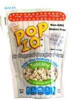 Pop I.Q. Tuscany w/Extra Virgin Olive Oil – The Best Healthy Snack – Air Popped Organic Sorghum Grain – Non-GMO, Vegan, Gluten-Free (Pack of 12 Single Servings)
