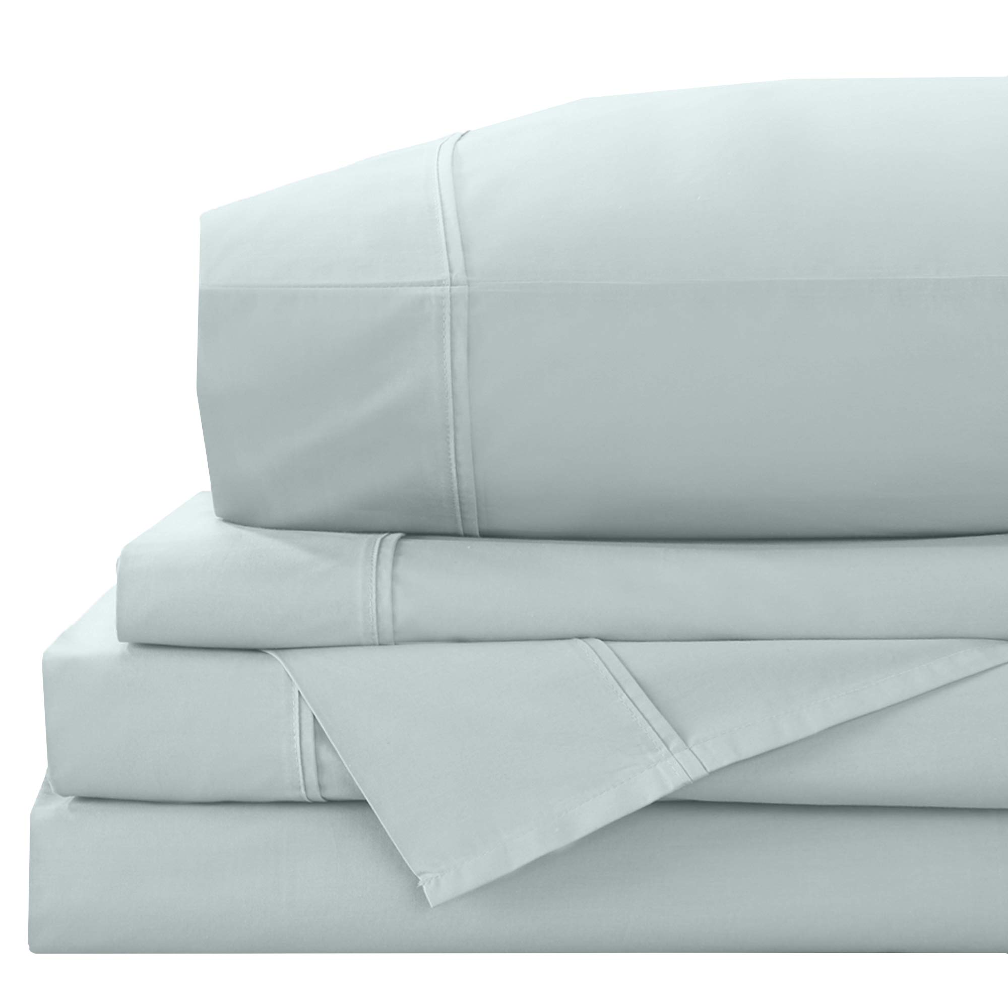 100% Cotton Percale Full Sheets. 4-Piece Long-Staple Combed Cotton. Breathable, Cool and Crisp Cotton Sheet Set. Includes 1 Flat, 1 Fitted Sheet & 2 Pillowcases. Zoe Collection (Full, Pastel Blue)