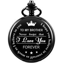 Pocket Watch Men Personalized Chain SIBOSUN Quartz Gift to My Brother Engraved Present Full Hunter