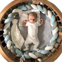 Soft Knot Pillow Decorative Baby Bedding Sheets Braided Crib Bumper Knot Pillow Cushion (White+Gray+Blue, 118.11 inch)
