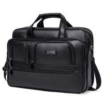 CLUCI Briefcases for Men Leather 15.6 inch Laptop Bag Large Capacity Travel Business Shoulder Bag
