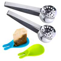 SNAIL GARDEN 2Pcs Stainless Steel Tea Bag Tongs, Round Tea Bag Squeezer with 2Pcs Bunny Silicone Tea Bag Holders & Rests- 6inch Tea Bag Strainer Clips Herb or Sugar Ice Cube for Kitchen Bar Tools