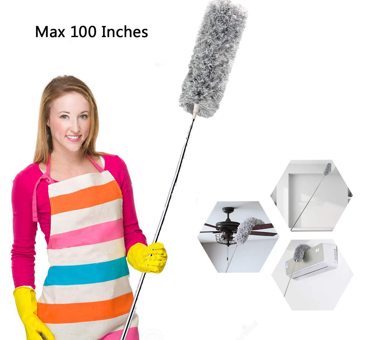 Microfiber Duster for Cleaning with Extension Pole(Stainless Steel), Extra Long 100 inches,with Bendable Head, Detachable, Lint Free Dusters for Cleaning Ceiling Fan, Blinds, Cobwebs, Furniture