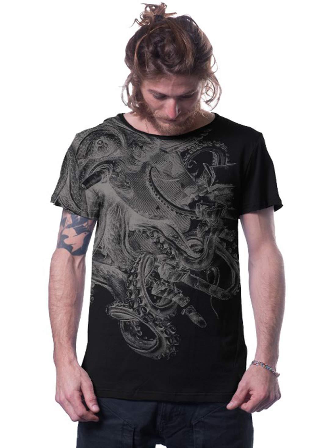 Men's David vs Kraken Octopus Cotton Jersey T-Shirt Mythical Battle Graphic Print Black Top