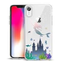 Unov Case Clear with Design Slim Protective Soft TPU Bumper Embossed Pattern [Support Wireless Charging] Cover for iPhone XR 6.1 Inch(Mermaid Castle)