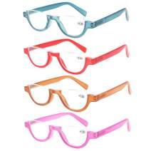 JOSCHOO 4 Pairs Half Frames Reading Glasses Colorful Spring Hinges Readers for Women