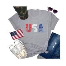 4th of July T-Shirt Women Baseball Graphic American Flag Summer Short Sleeve Tee Tops