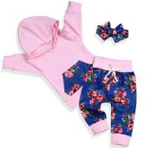 Newborn Baby Girl Clothes Long Sleeve Hoodie Tops Floral Pants with Headband Outfit Set