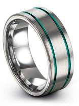Chroma Color Collection Tungsten Carbide Wedding Band Ring 8mm for Men Women Green Red Blue Purple Black Copper Fuchsia Teal Double Line Flat Cut Brushed Polished