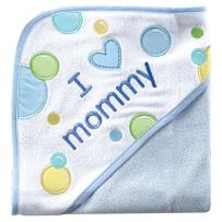 Luvable Friends Unisex Baby Hooded Towel, Blue Mom, One Size
