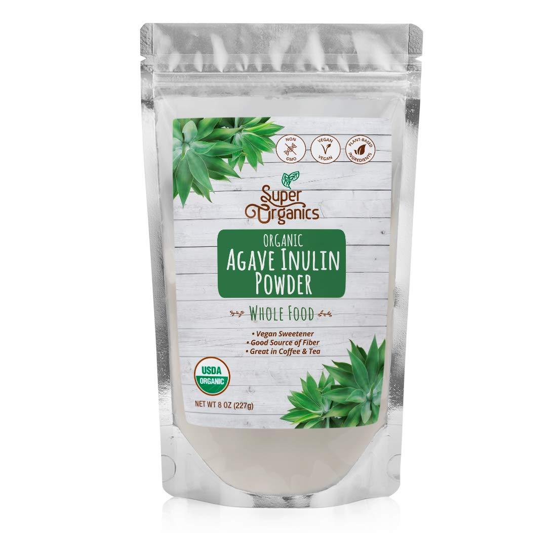 Super Organics Agave Inulin Powder | Vegan Sweetener | Good Source of Fiber | Organic Superfood Powder | Raw Superfoods | Whole Food Supplement – Vegan, Gluten-Free & Non-Gmo, 8 Oz
